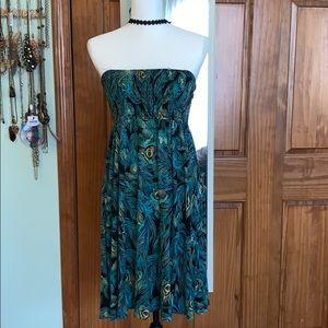 Sz 12 Divided Peacock Viscose Dress